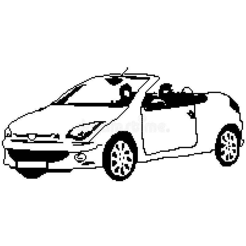 Silueta del coche del cabriolé, descapotable auto pintado en los cuadrados, pixeles Ilustración del vector stock de ilustración