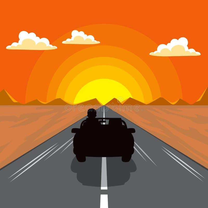 Silueta del coche de la puesta del sol ilustración del vector