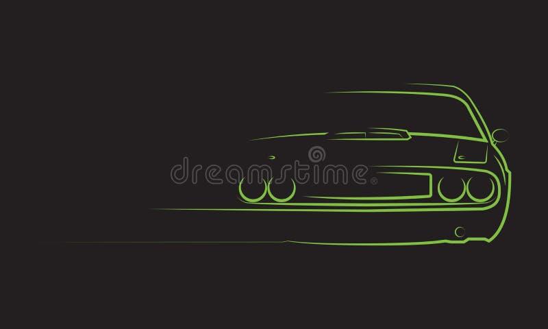 Silueta del coche del músculo imagen de archivo