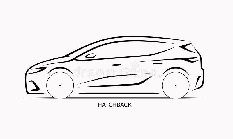 Silueta del coche del vector Vista lateral de la ventana trasera ilustración del vector