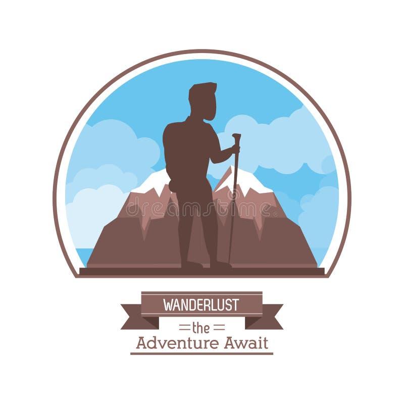 Silueta del color de cartel de la pasión por los viajes que la aventura aguarda con el hombre del escalador en la cima de la mont ilustración del vector