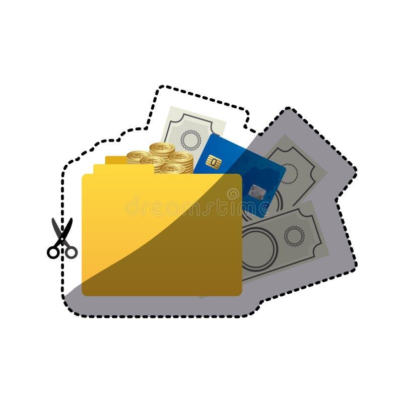 silueta del color de la etiqueta engomada de la carpeta con cuentas de dinero libre illustration