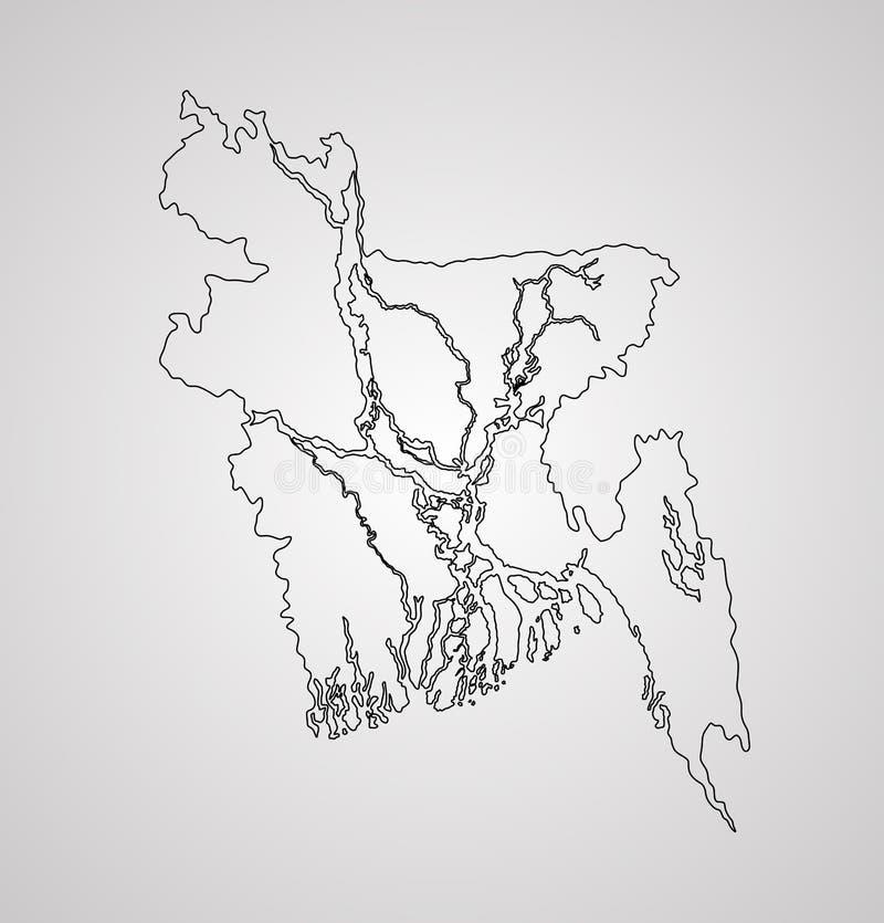 Silueta del contorno del mapa de Bangladesh ilustración del vector