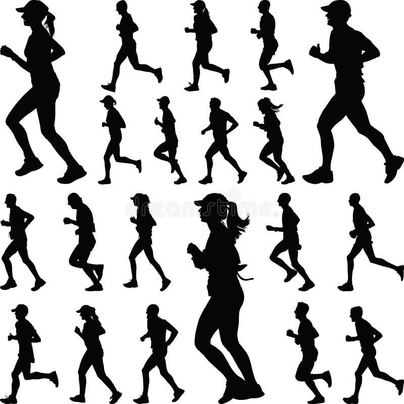 Silueta del corredor jogging stock de ilustración