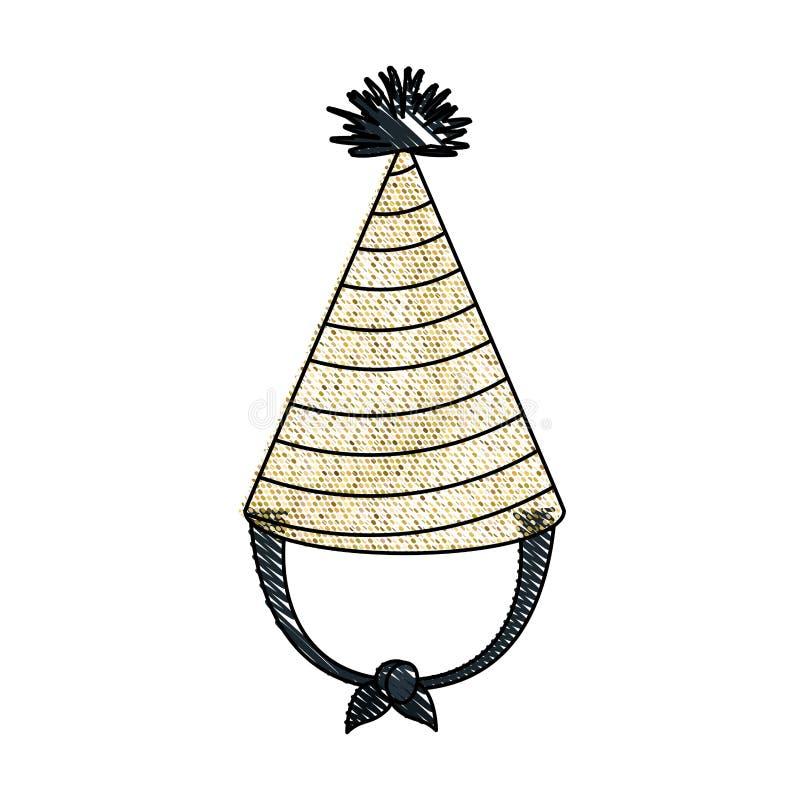 Silueta del creyón de la mano que dibuja el traje amarillo del sombrero del partido del pixel accesory ilustración del vector