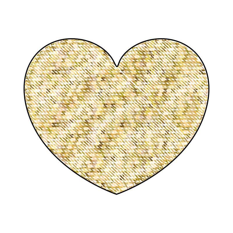 Silueta del creyón de la mano que dibuja la forma amarilla del corazón del pixel decorativa stock de ilustración