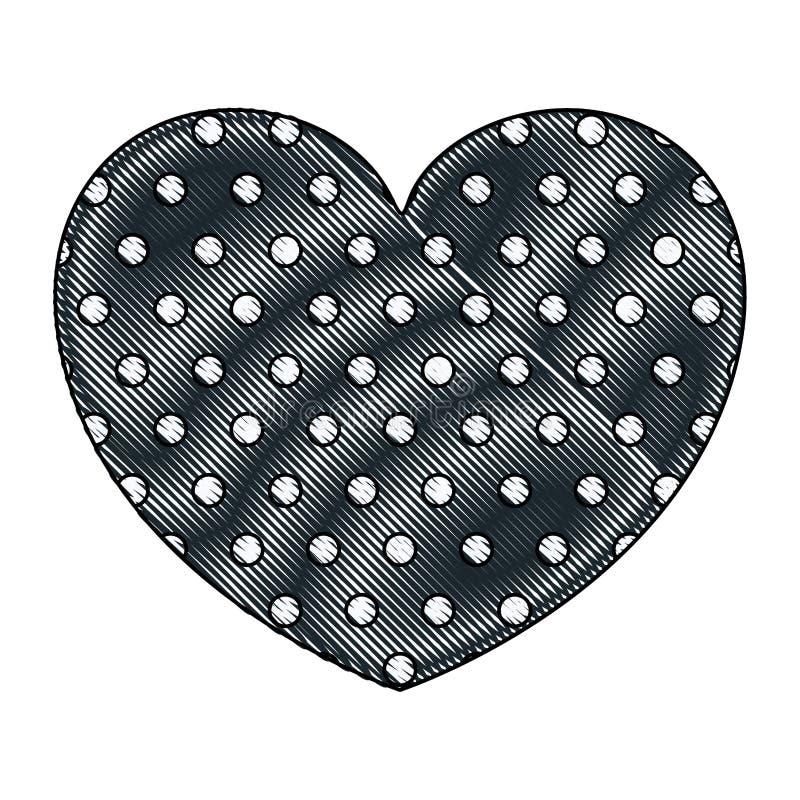 Silueta del creyón de la mano que dibuja la forma azul marino del corazón decorativa con los puntos libre illustration