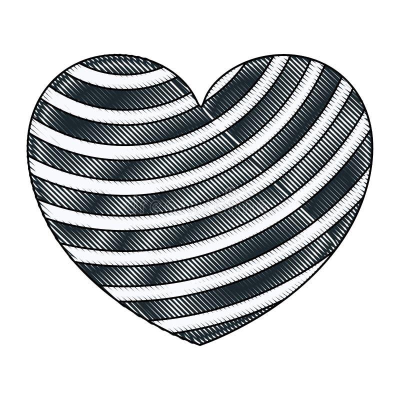 Silueta del creyón de la mano que dibuja líneas diagonales azul marino en la forma del corazón decorativa ilustración del vector