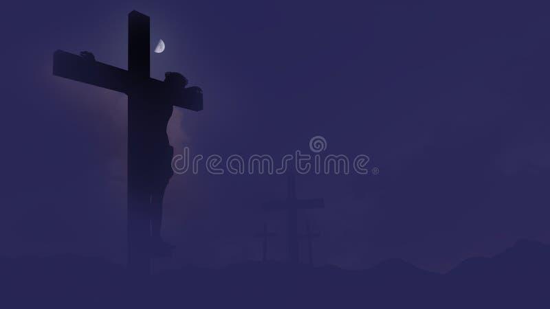 Silueta del crucifijo fijada contra un cielo dramático libre illustration