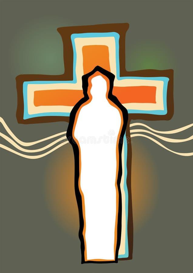 Silueta del crucifijo y de Cristo ilustración del vector