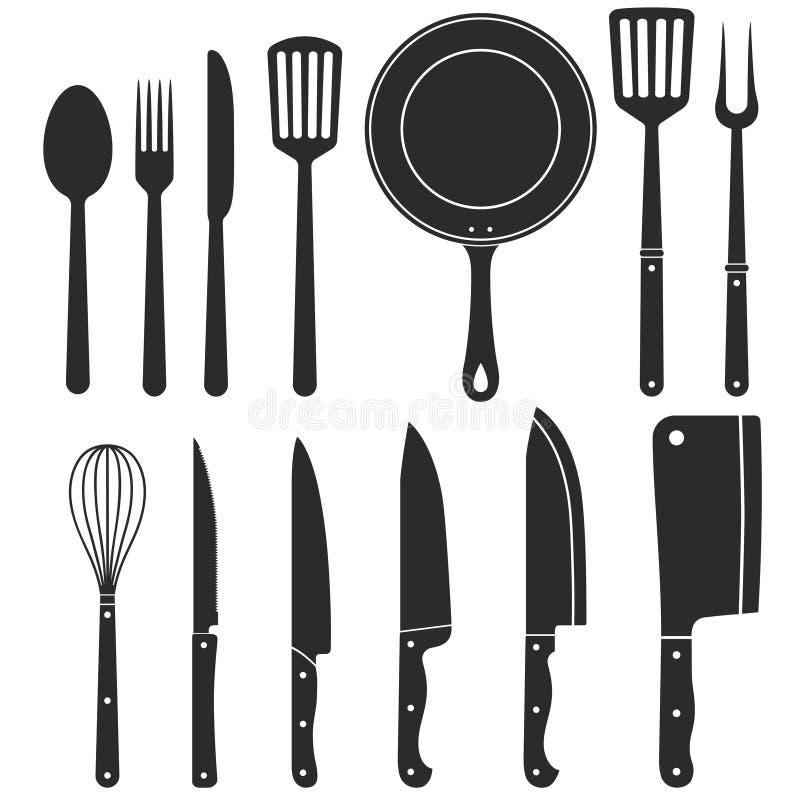 Silueta del cuchillo de cocina, artículos de cocina del carnicero, cuchillos de corte de la carne, vector stock de ilustración