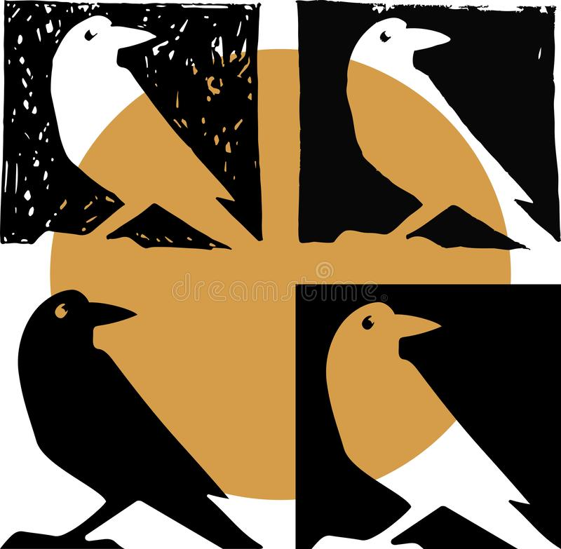 Silueta del cuervo en vector stock de ilustración