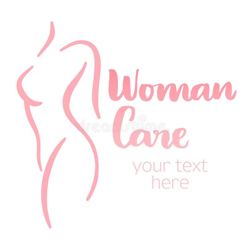 Silueta del cuidado del cuerpo de la mujer stock de ilustración