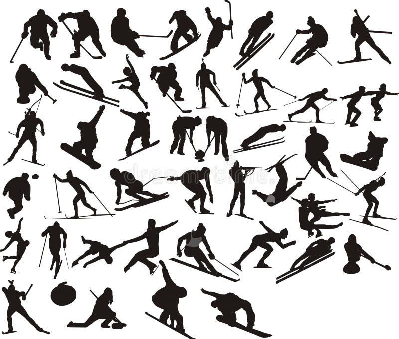 Silueta del deporte de invierno stock de ilustración