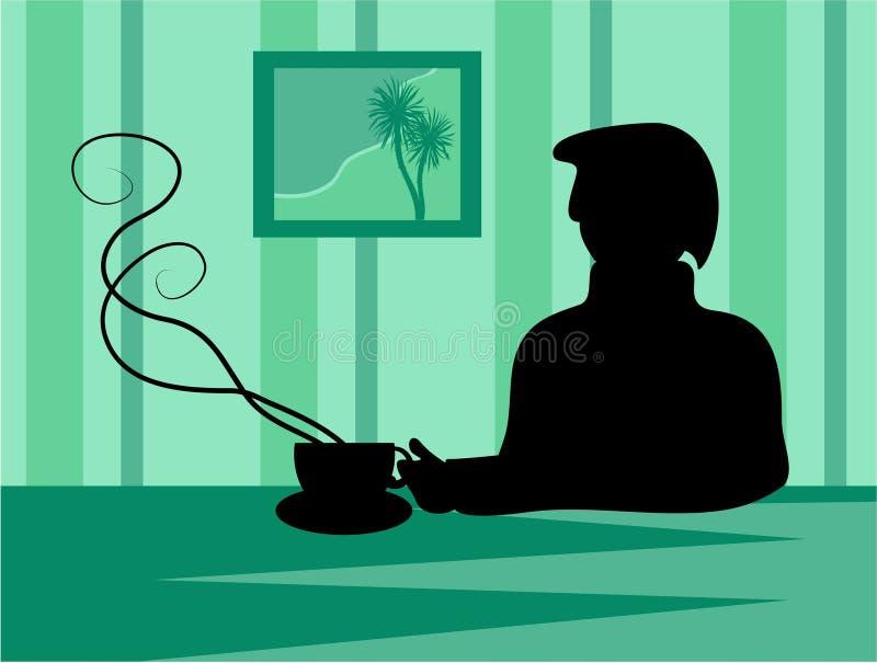 Silueta del descanso para tomar café stock de ilustración