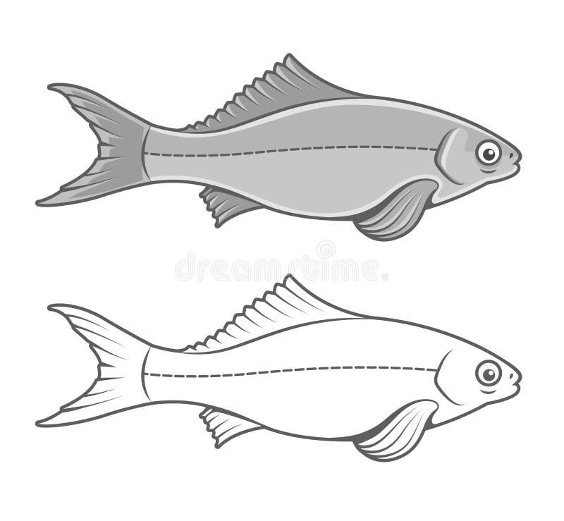 Silueta del dibujo del contorno de los pescados ilustración del vector