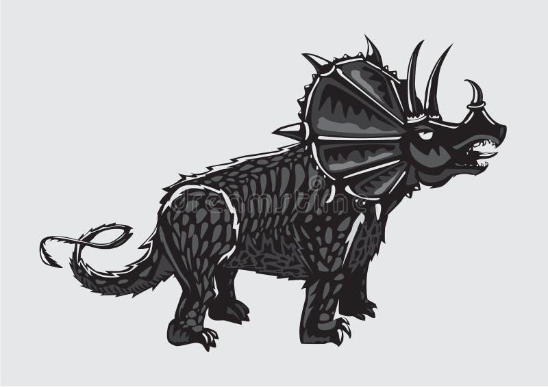 Silueta del dinosaurio en fondo aislado Triceratops blanco y negro Estilo del tatuaje libre illustration