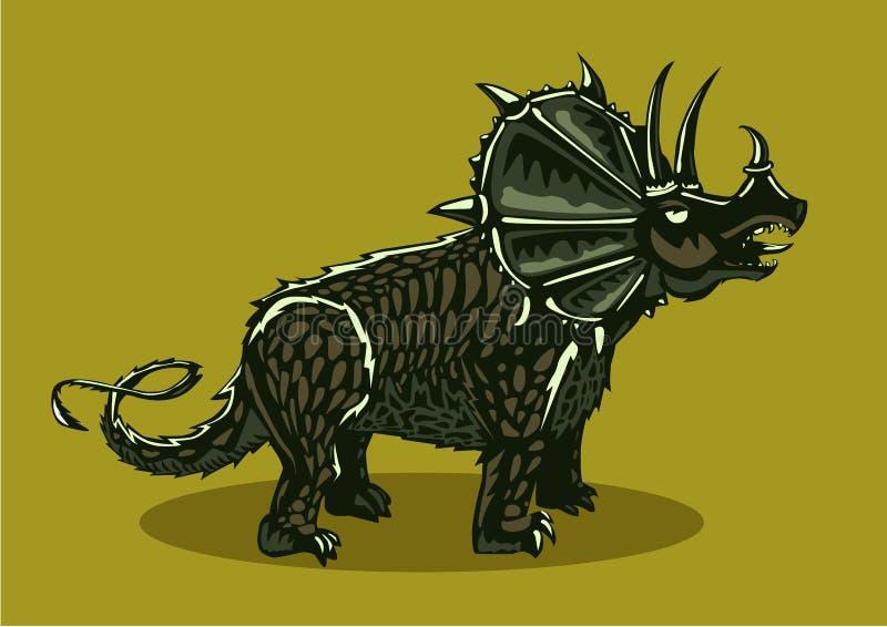 Silueta del dinosaurio en fondo aislado Triceratops del color Estilo del tatuaje libre illustration