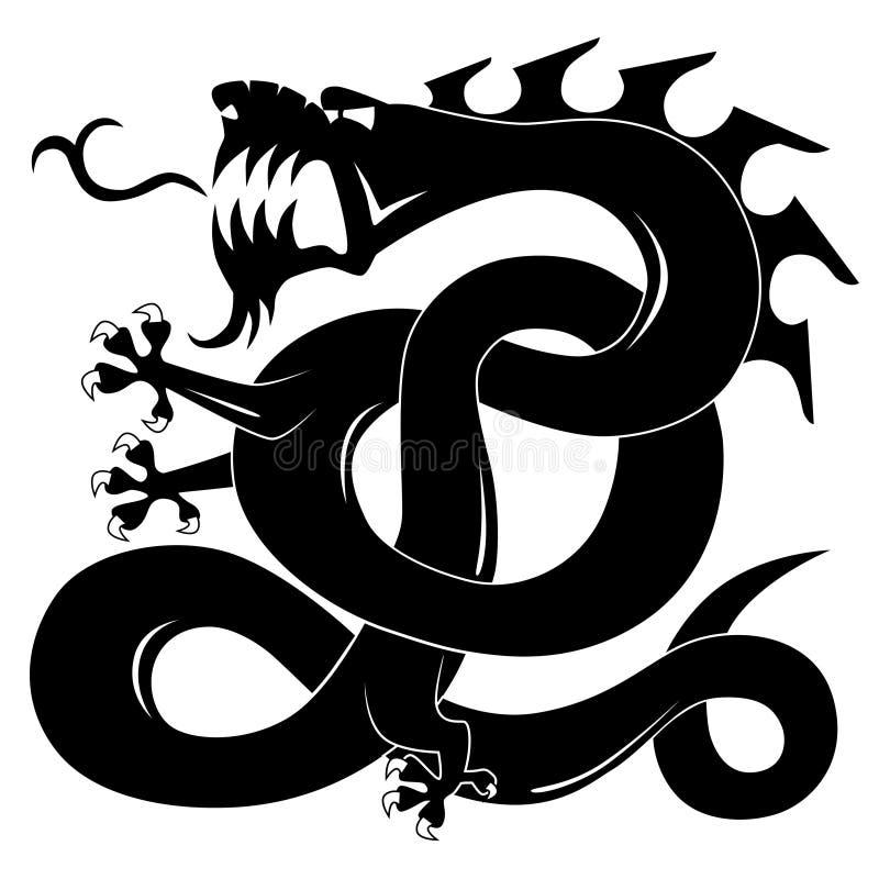 Silueta del dragón que ataca stock de ilustración