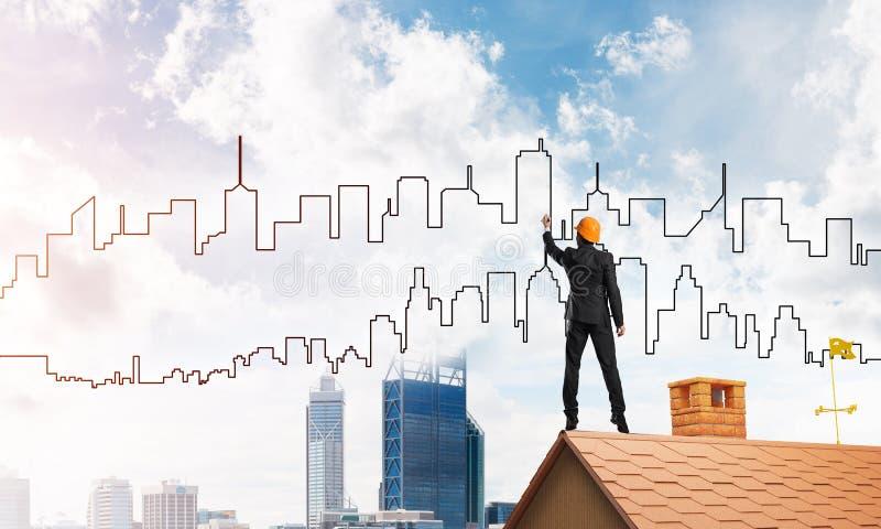Silueta del drenaje del arquitecto del hombre de la ciudad moderna en el cielo azul Técnicas mixtas ilustración del vector