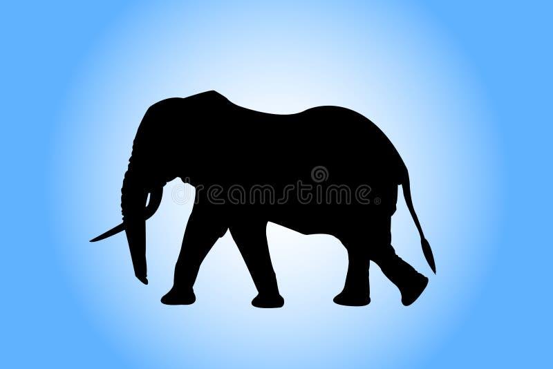 Silueta del elefante stock de ilustración