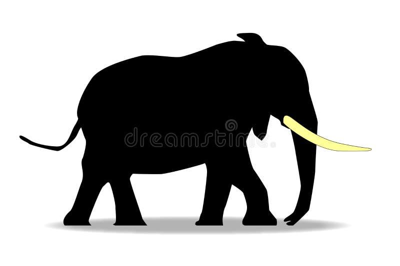 Silueta del elefante de la historieta con los colmillos de marfil grandes stock de ilustración