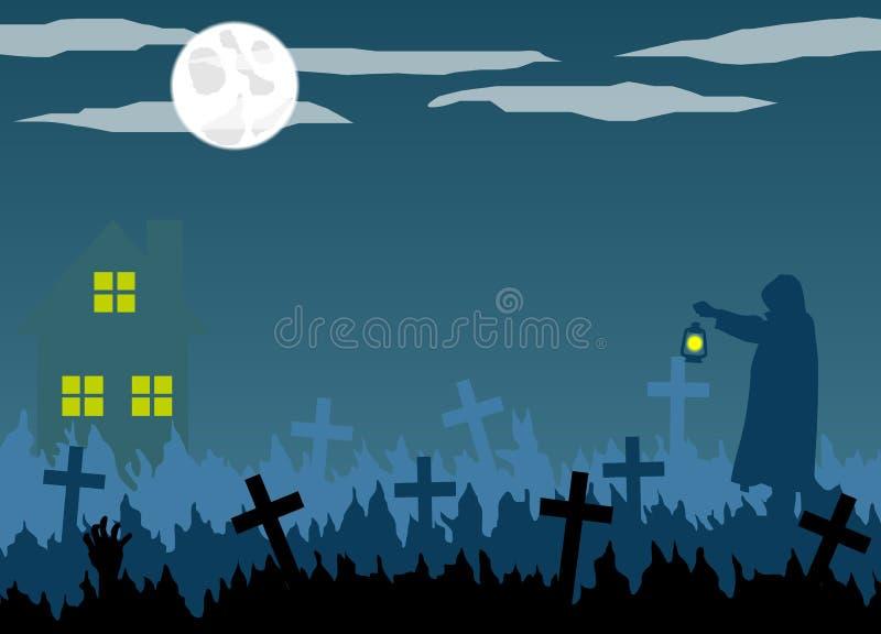 Silueta del encargado del cementerio y del cementerio de Halloween con la linterna libre illustration