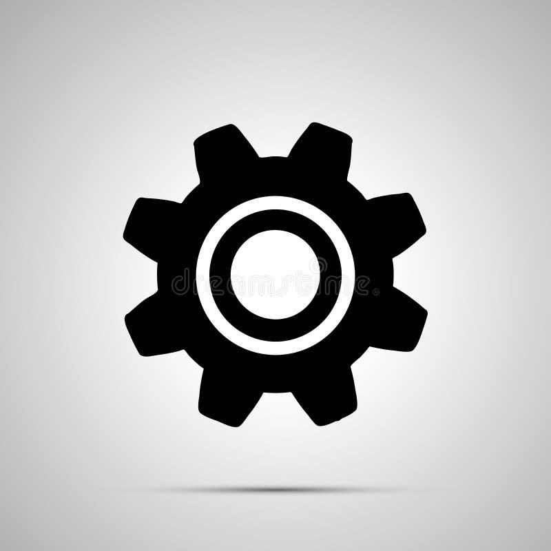 Silueta del engranaje, icono negro simple de los ajustes libre illustration
