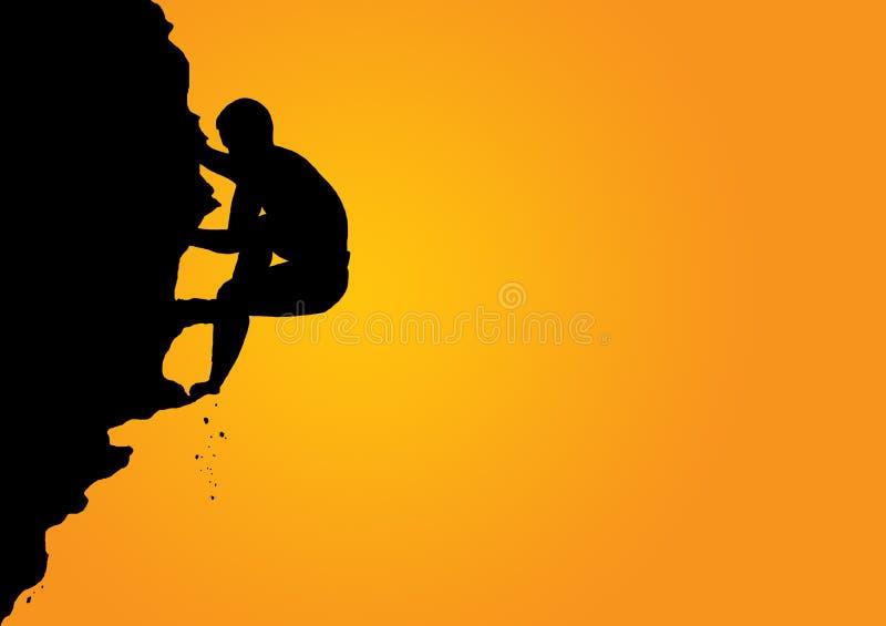 Silueta del escalador ilustración del vector
