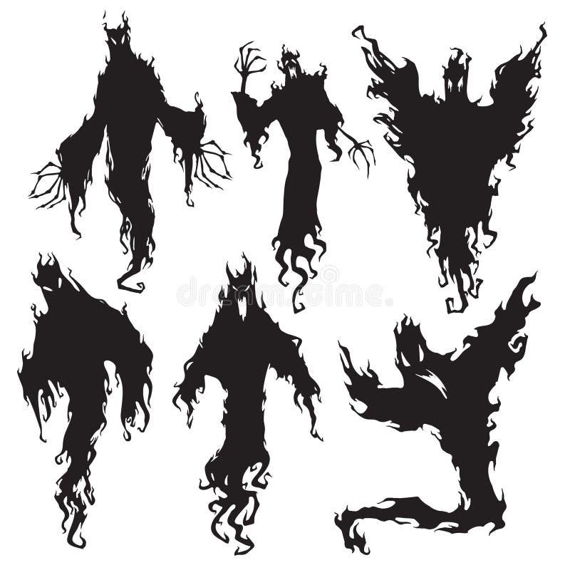 Silueta del espíritu maligno Diablo de la noche de Halloween, demonio de la pesadilla o siluetas oscuro del fantasma Vector metaf ilustración del vector