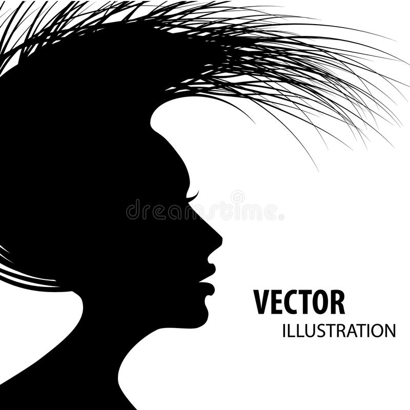 Silueta del estilo de pelo de la mujer libre illustration