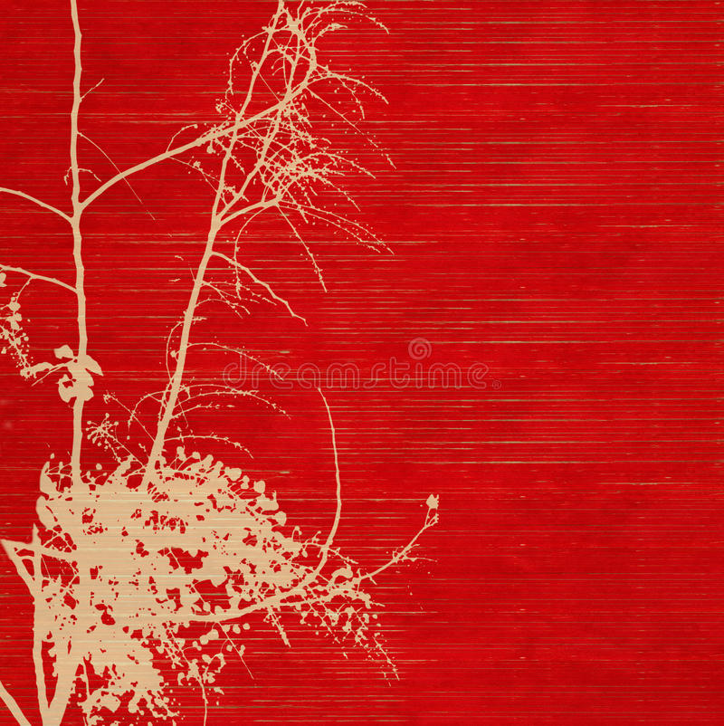 Silueta del flor en el papel hecho a mano acanalado rojo imagen de archivo libre de regalías