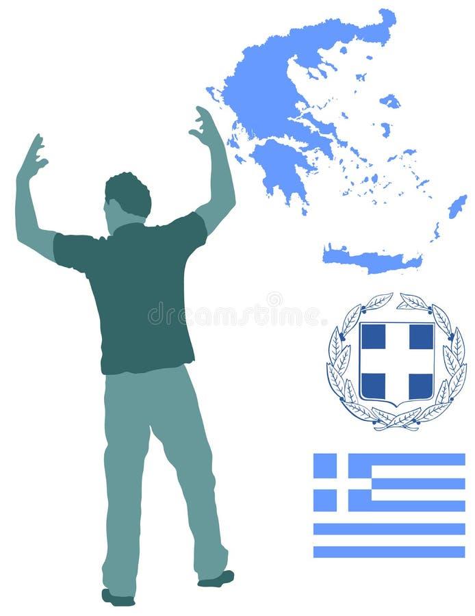 Silueta del folclore del baile de Evzone del Griego Danza tradicional Mapa de Grecia, escudo de armas y bandera de Grecia stock de ilustración
