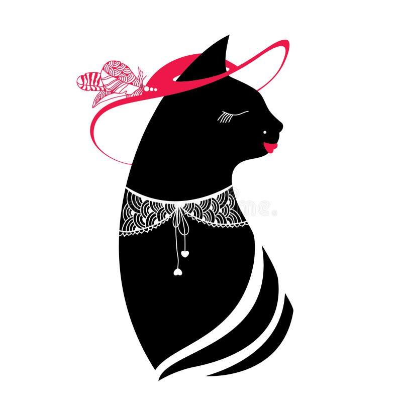 Silueta Del Gato Con El Sombrero Y El Cuello Del Cordón Ilustración ...