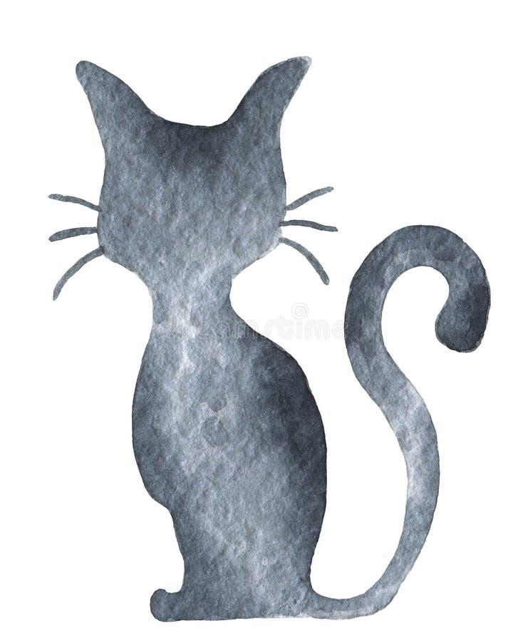 Silueta del gato negro con el bigote y la cola encrespada Partido del feliz Halloween Gráfico aislado acuarela del clip art del d ilustración del vector
