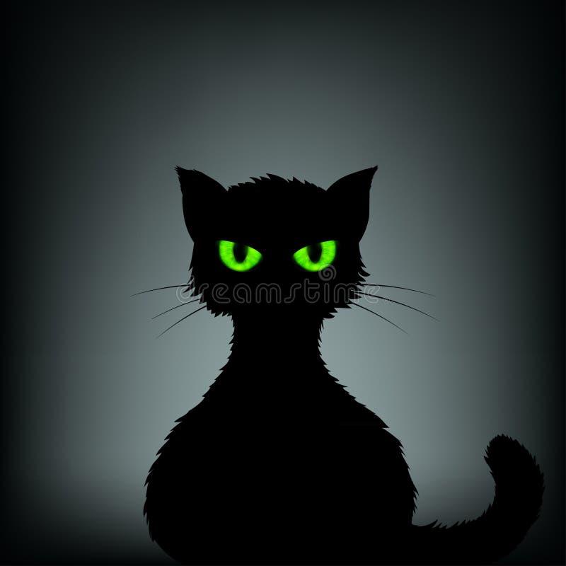 Silueta del gato negro con los ojos verdes Illustrati común libre illustration