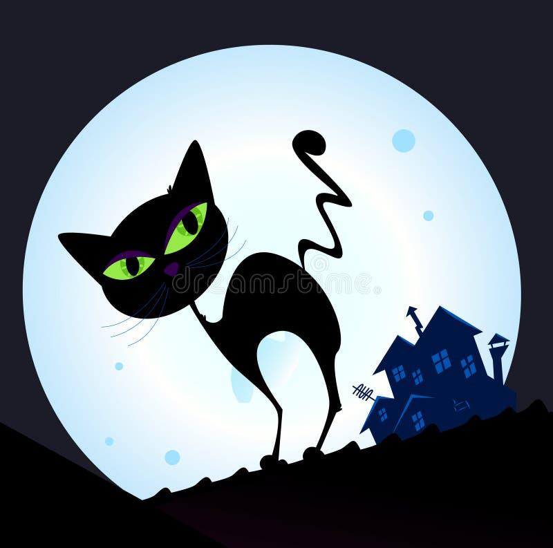 Silueta del gato negro en ciudad de la noche ilustración del vector