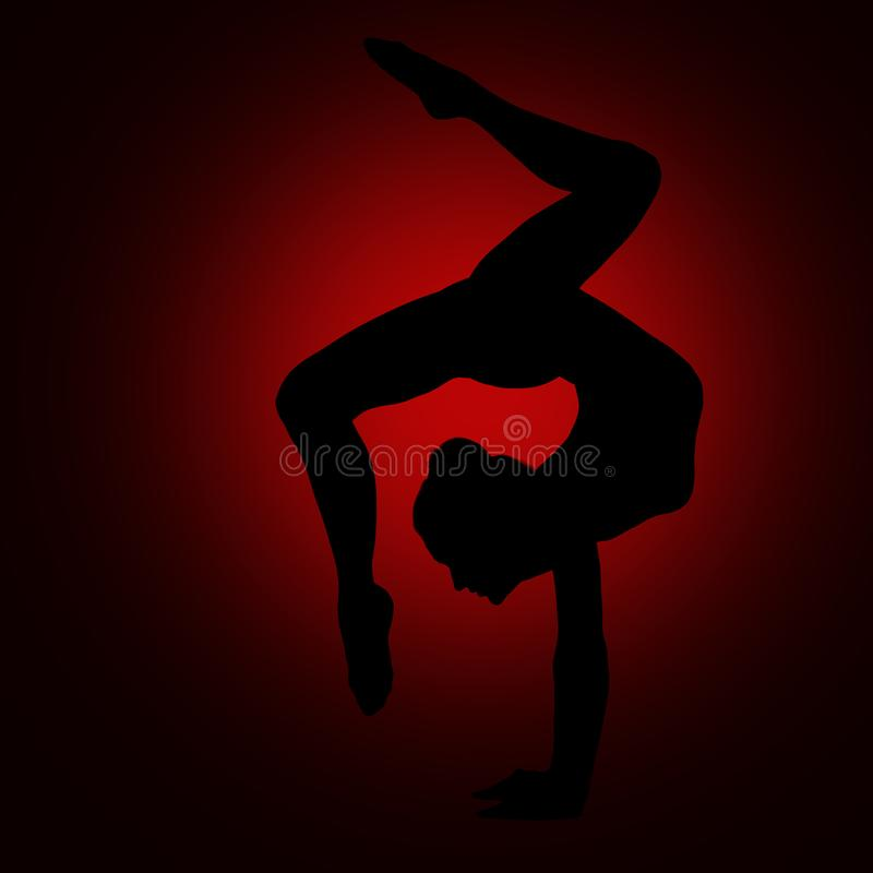 Silueta del gimnasta de la yoga, cuerpo flexible de la gimnasia del Backbend de la mujer imagen de archivo