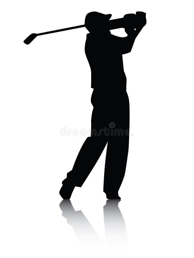 Silueta del golfista con la sombra ilustración del vector