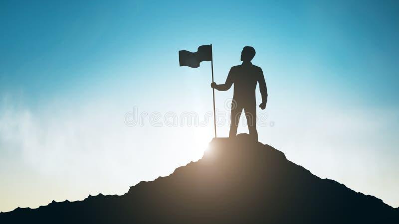 Silueta del hombre con la bandera en el top de la montaña sobre el cielo libre illustration