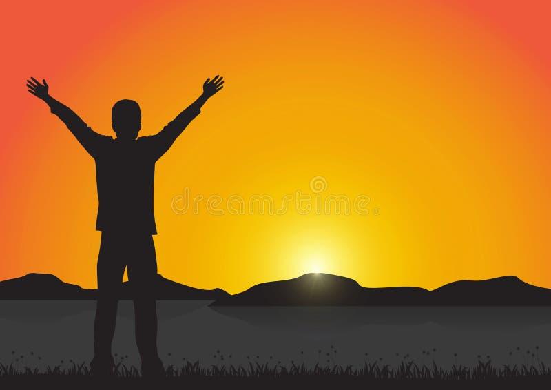 Silueta del hombre con los brazos para arriba con alegre en el fondo de oro de la salida del sol, concepto acertado de la vida libre illustration