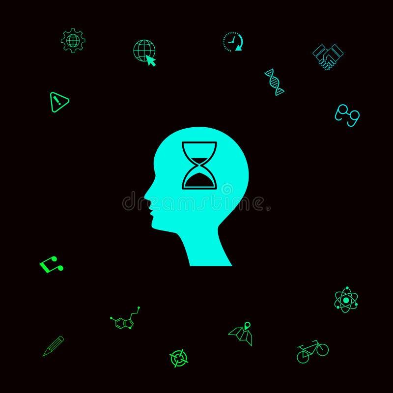 Silueta del hombre con reloj de arena Elementos gráficos para su designt libre illustration