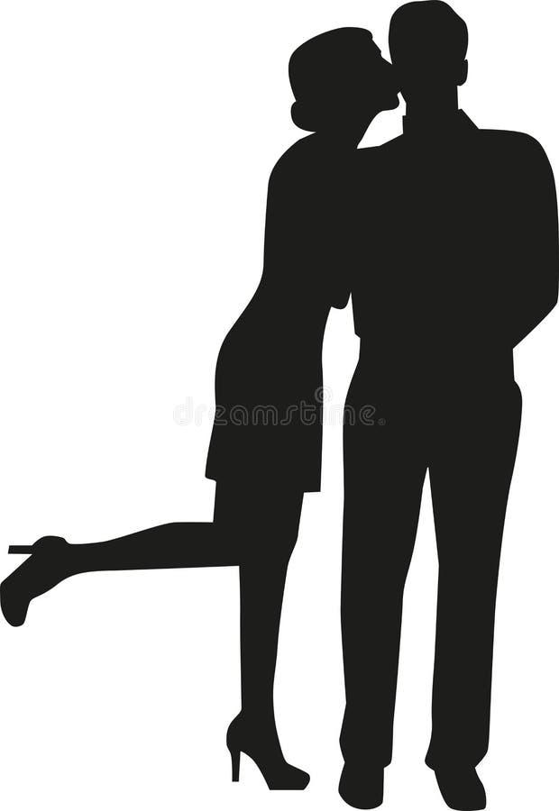 Silueta del hombre de la mujer que se besa ilustración del vector