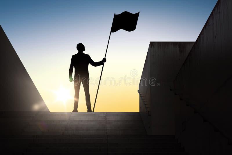 Silueta del hombre de negocios con la bandera sobre luz del sol ilustración del vector