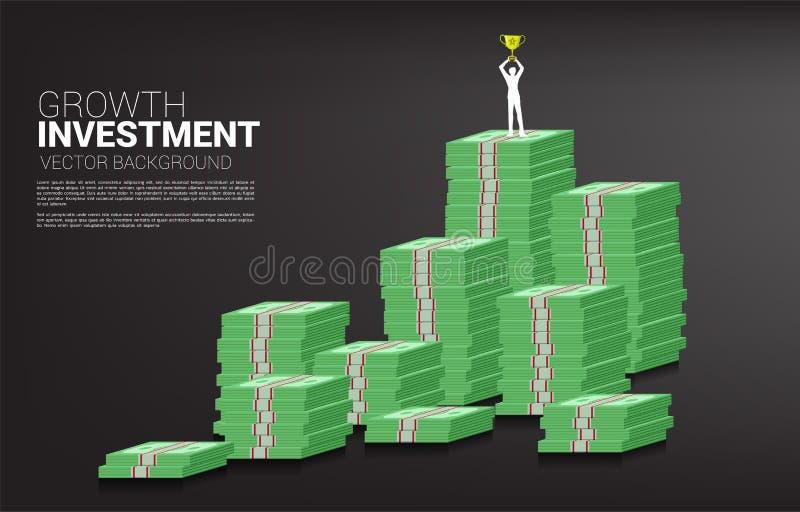 Silueta del hombre de negocios con la situación del trofeo del ganador encima de y el gráfico del crecimiento con la pila de bill ilustración del vector