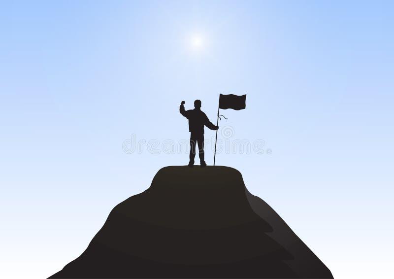 Silueta del hombre de negocios encima de la bandera de la tenencia de la montaña con el puño aumentado para arriba en fondo del c stock de ilustración
