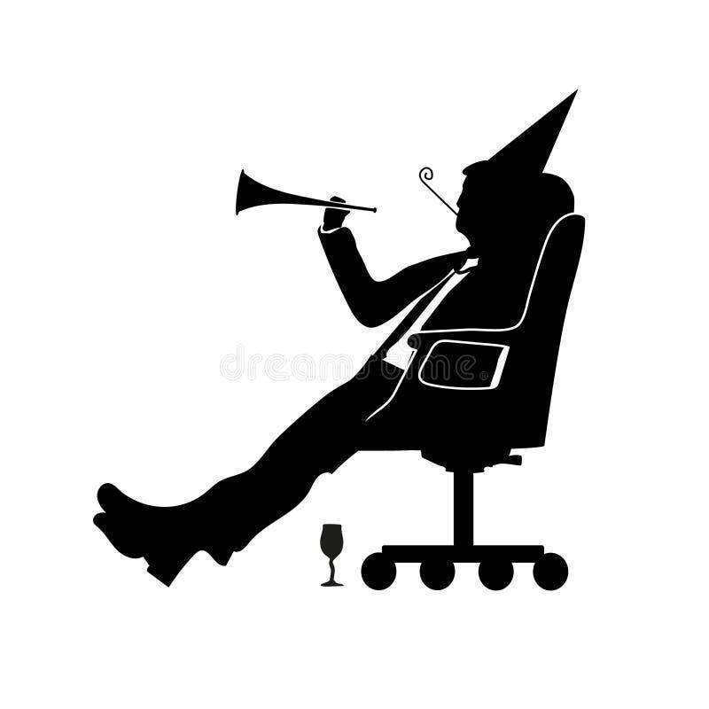 Silueta del hombre de negocios de un hombre Celebrará día de los tontos y el partido estúpido Abril para la tarjeta de felicitaci ilustración del vector