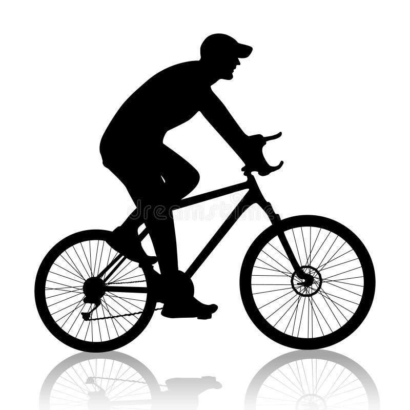 Silueta del hombre del ciclista imagenes de archivo