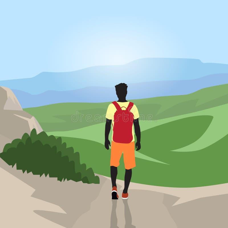 Silueta del hombre del viajero que camina vista posterior superior del valle de la montaña stock de ilustración