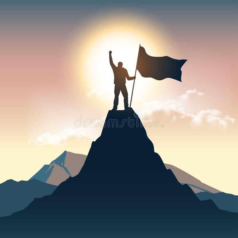 Silueta del hombre en el top de la montaña stock de ilustración